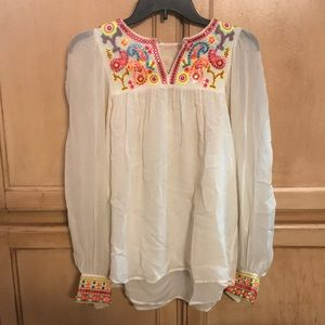 Bright colorfully patterned long-sleeve shirt